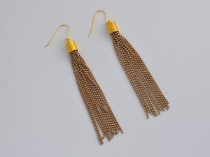Image of tassel chain earrings - mustard, white and caramel