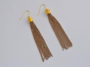 Image of tassel chain earrings - mustard, white and caramel