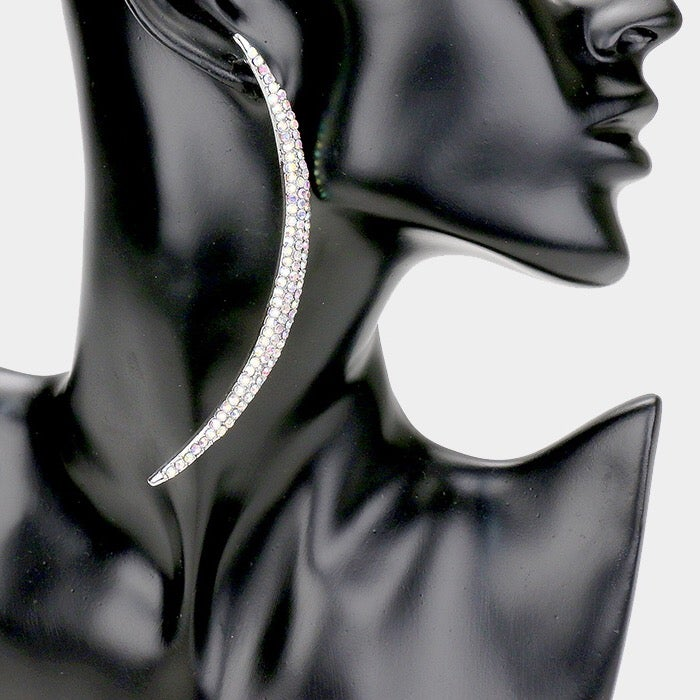 Image of Half Moon Crystal Pave' Earrings