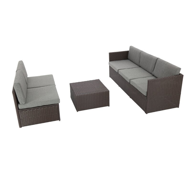 Catharine Outdoor 4 Piece Sofa Seating Group with Cushions Patio Furniture