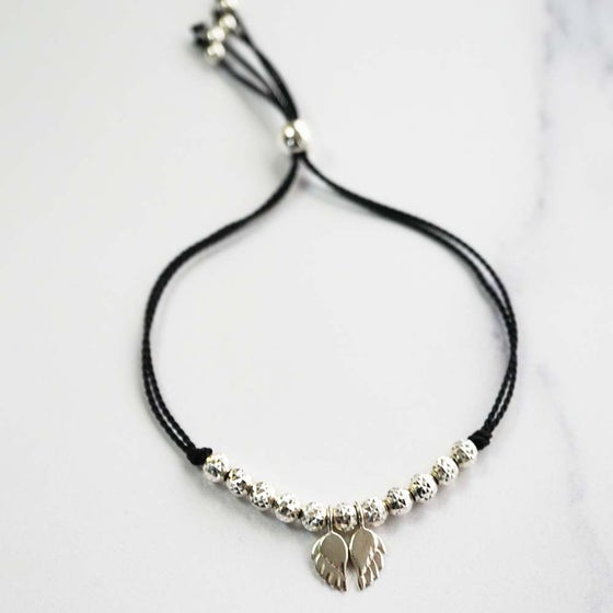 Image of NEW: Angel Wing WISH BRACELET - Black Silk