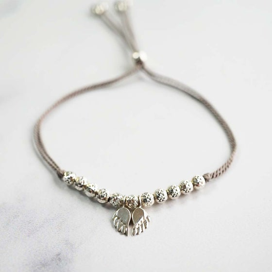 Image of NEW: Angel Wing WISH BRACELET - Grey Silk Cord