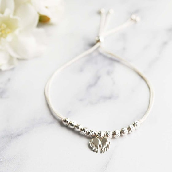 Image of NEW: Angel Wing WISH BRACELET - White Silk