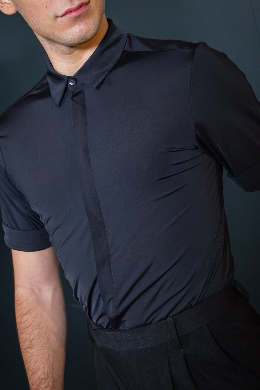 Image of Men's Stretch Short Sleeve Shirt E9436 Dancewear latin ballroom