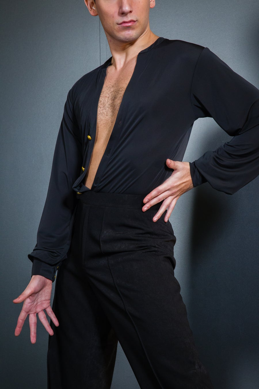 Image of Collarless Latin Shirt BLACK H5925  Dancewear latin ballroom