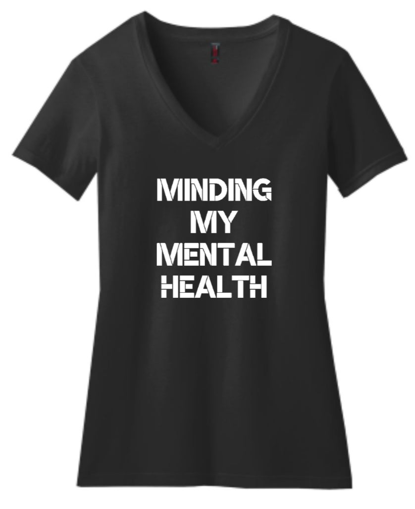 Image of Minding My Mental Health black vneck ladies fitted vneck