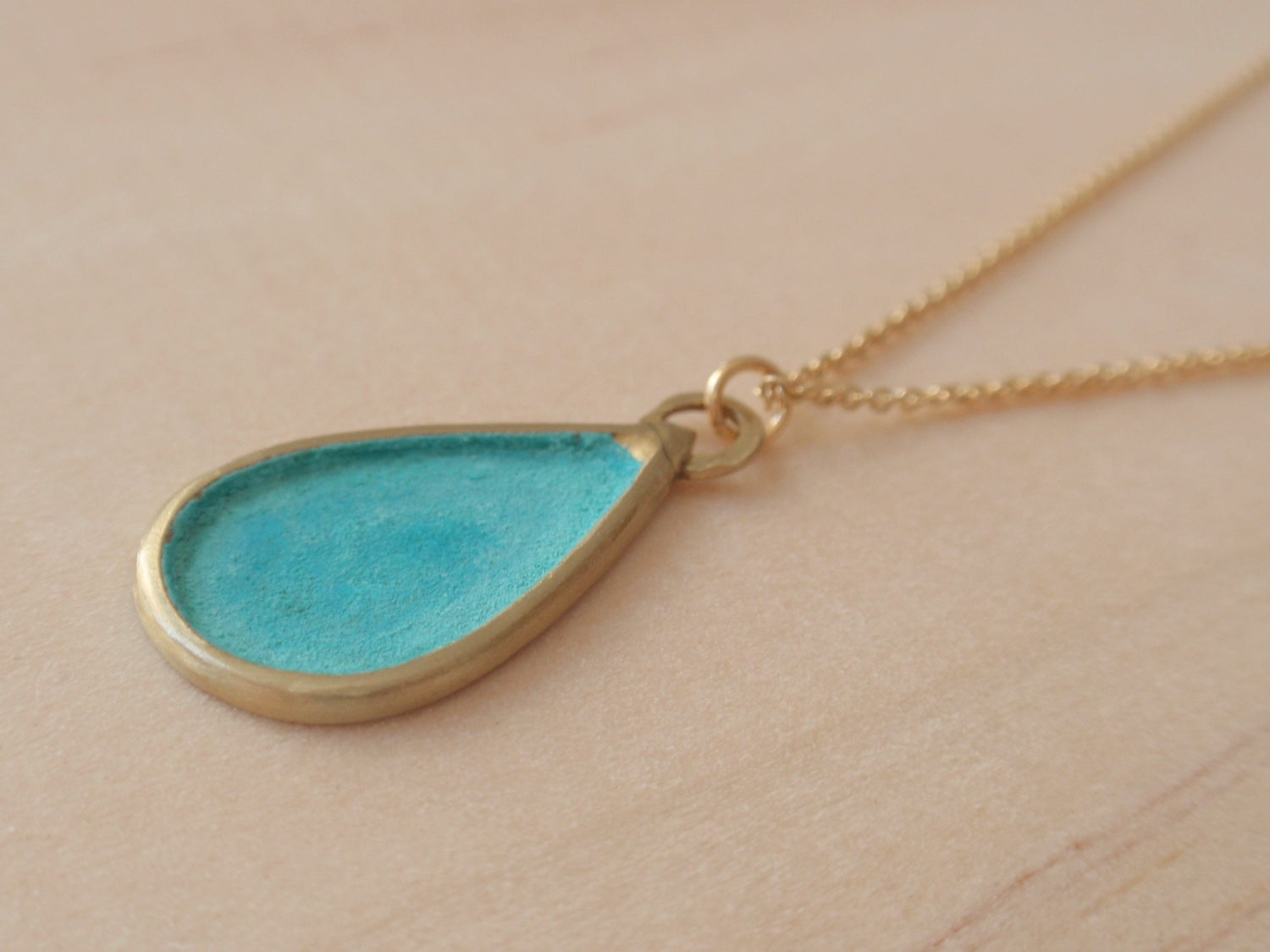 Image of Blue Green Drop Necklace