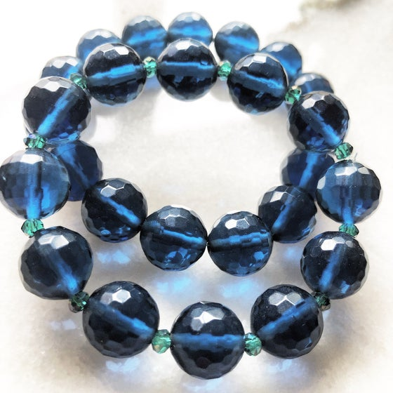 Image of Blue Chalcedony Bracelet (Mens) (Womans) also made with Champagne Swarowski Crystals