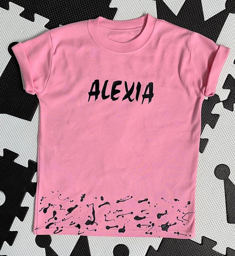 Image of Pink Personalised Splat Tee
