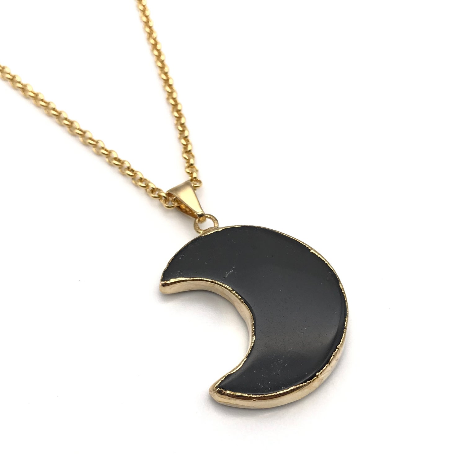 Image of BLACK TOURMAILINE HALF MOON NECKLACE