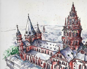 Image of Mainzer Dom Aquarell Illustration