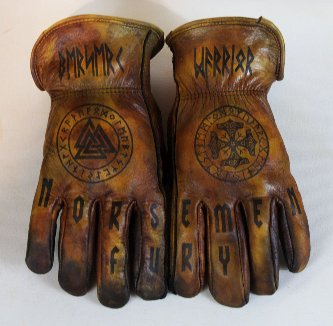 Image of Berserk Warrior/Norsemen Fury custom leather gloves