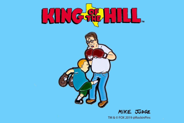 Image of King of the Hill - Bobby Kicking Hank Enamel Pin