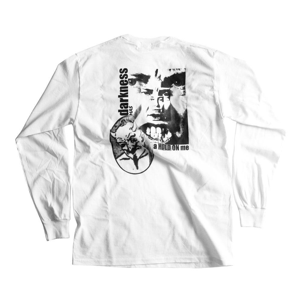 Image of Darkness Longsleeve Pocket Tee (White)