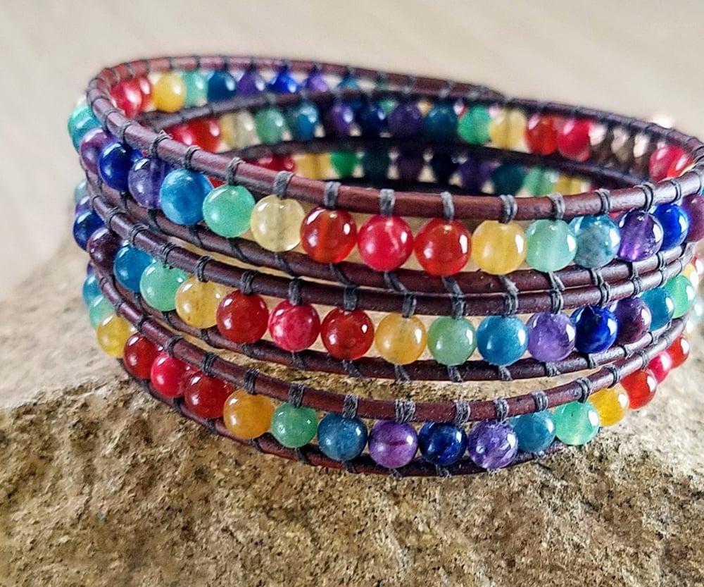 Image of Chakra Leather Wrap Bracelet
