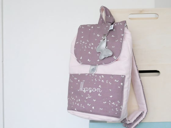 Image of Nouvelle version 2019 | Sac à dos molletonné Rose poudré et Papillons Figue