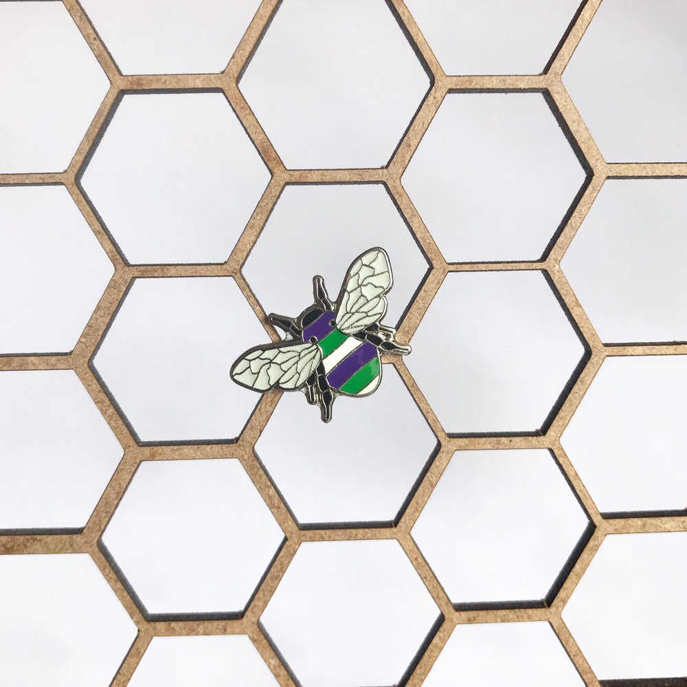 Image of SUFFRAGETTE BEE PIN - EMMELINE'S PANTRY CHARITY SPECIAL EDITION - *SOLD OUT*
