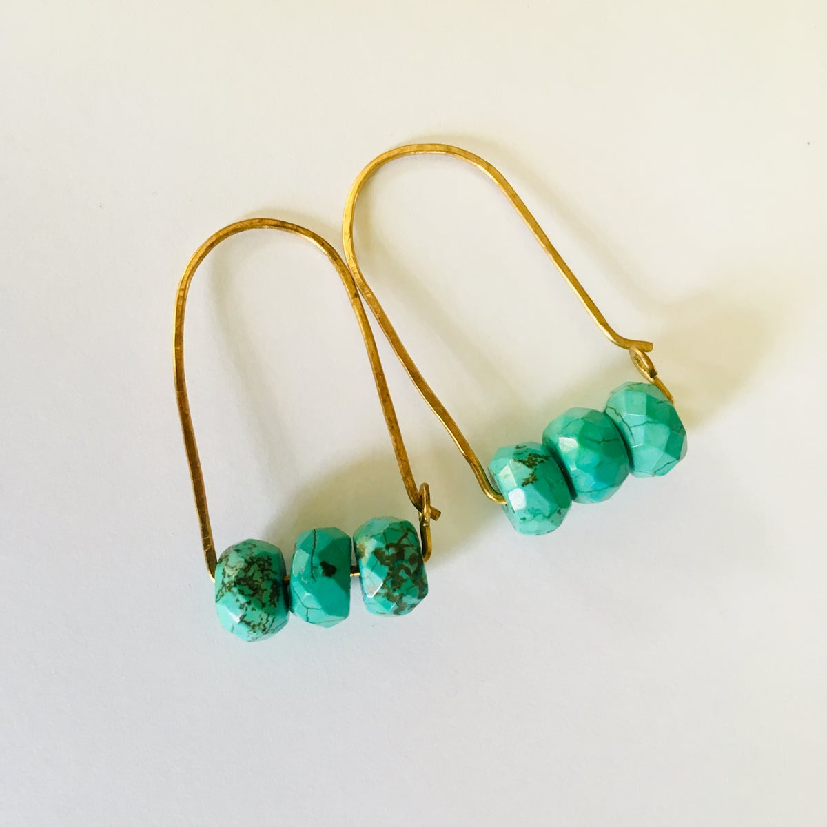 Image of Faceted Turquoise Hammered Hoops