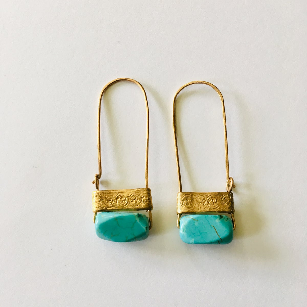 Image of Faux Turquoise Hammered Hoops