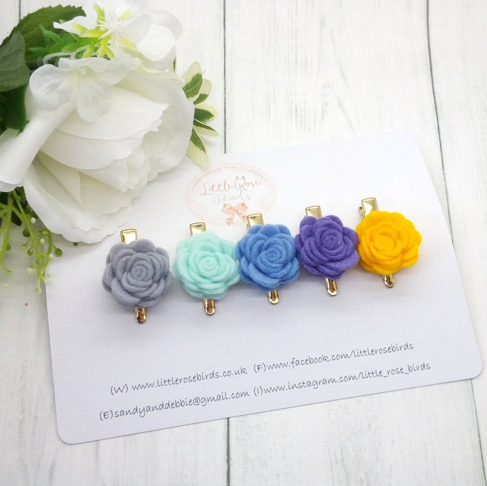 Image of SET OF 5 Mini Rose Spring Clips