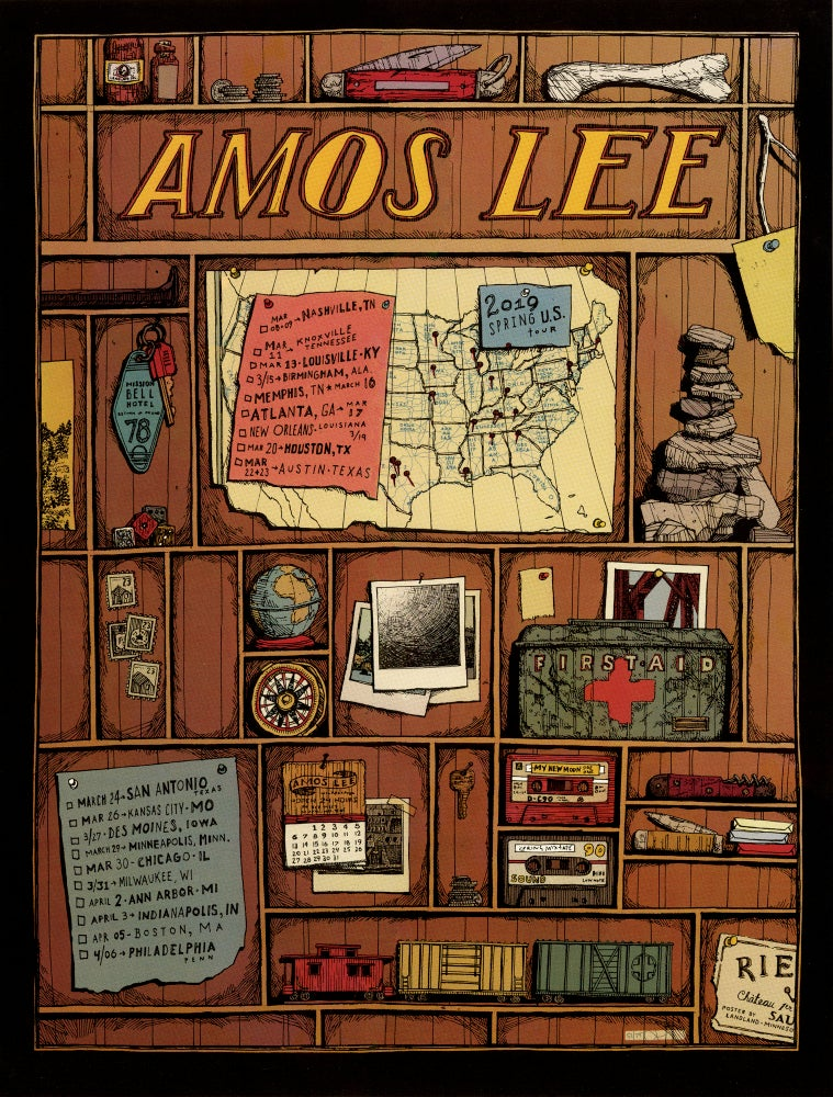 "Image of Amos Lee (Spring 2019 U.S. Tour) • L.E. Official Poster (18"" x 24"")"