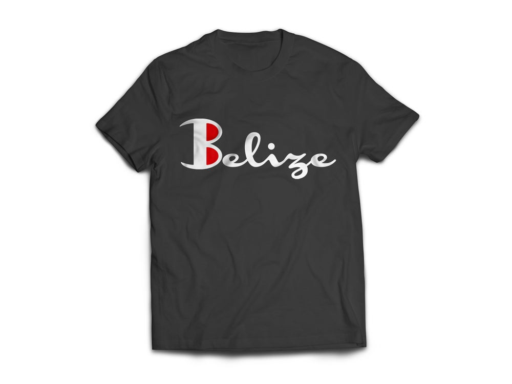 Image of Belize T-Shirt - Black/White(Red)