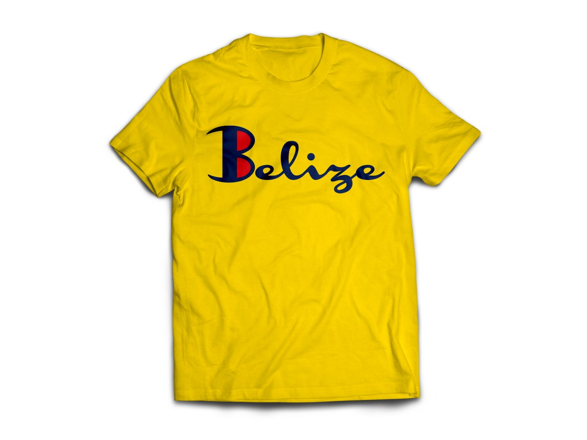 Image of Belize T-Shirt - Golden Yellow/Navy Blue(Red)