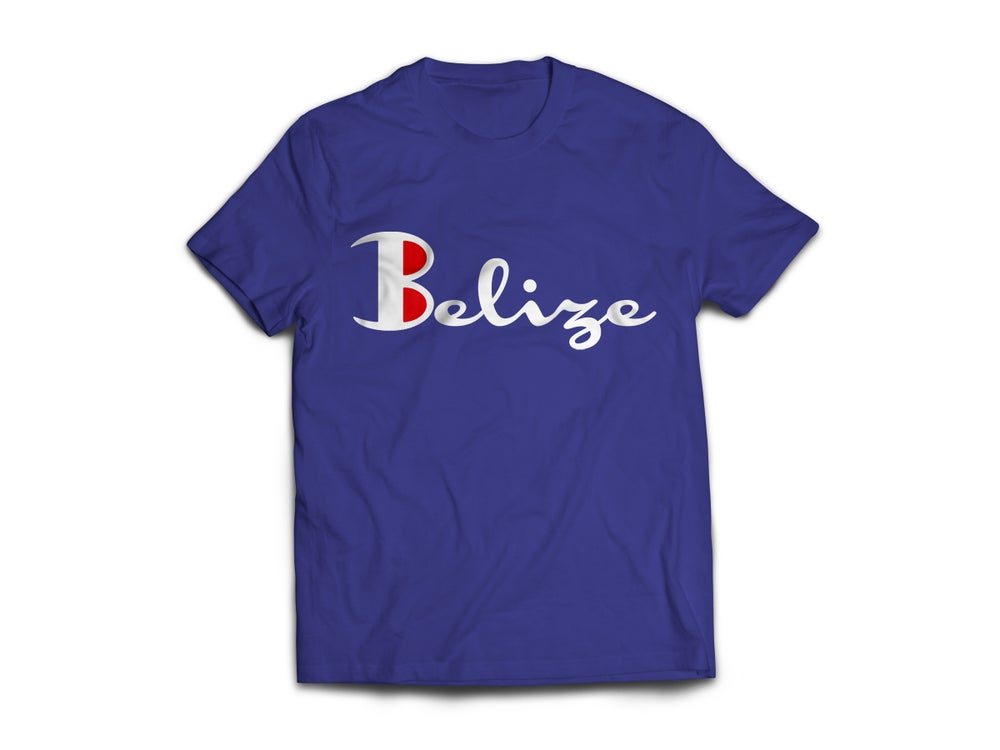 Image of Belize - T-Shirt Navy Blue/White(Red)