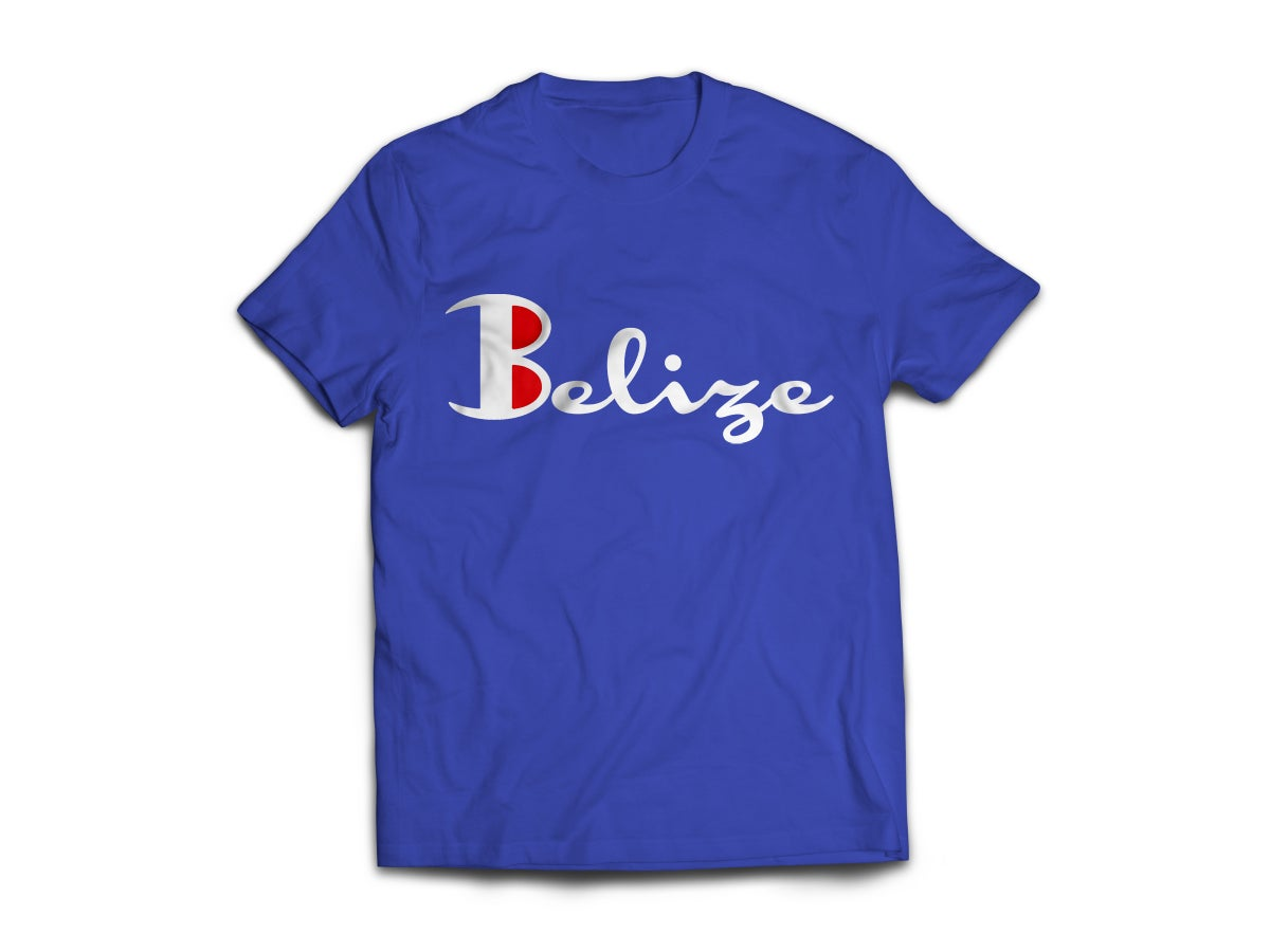 Image of Belize - T-Shirt - Royal Blue/White(Red)