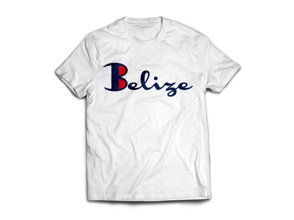 Image of Belize - T-Shirt - White/Navy Blue(Red)