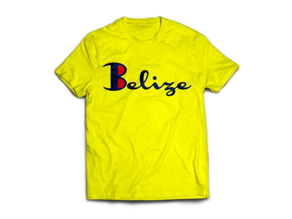 Image of Belize - T-Shirt - Yellow/Nay Blue(Red)