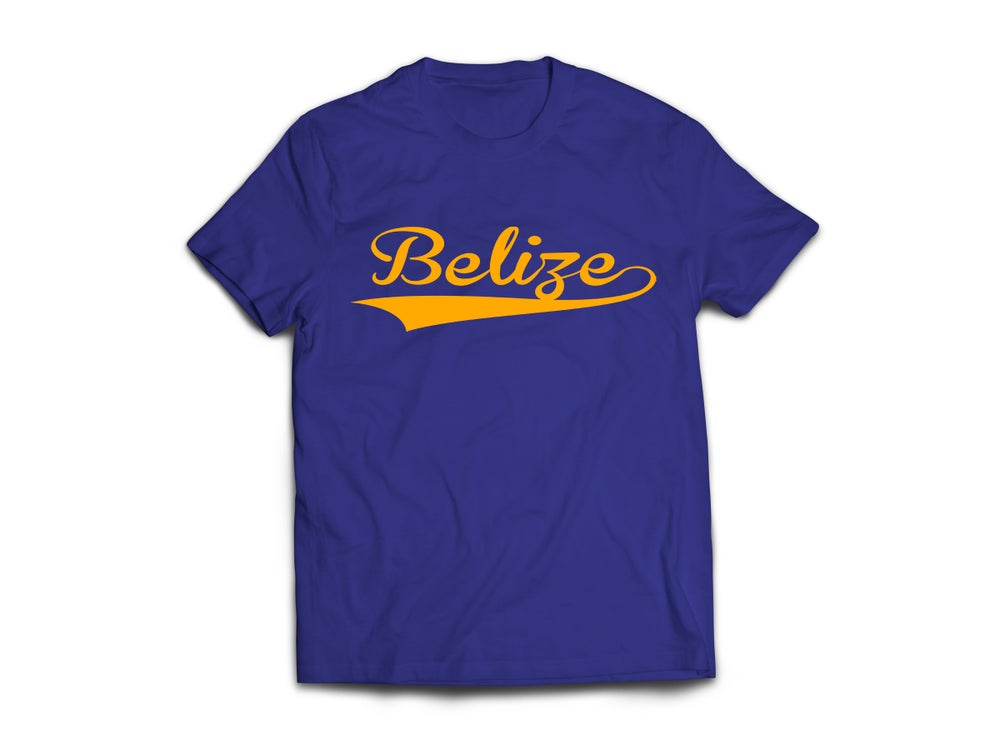 Image of Belize - T-Shirt - Navy Blue/Yellow Gold