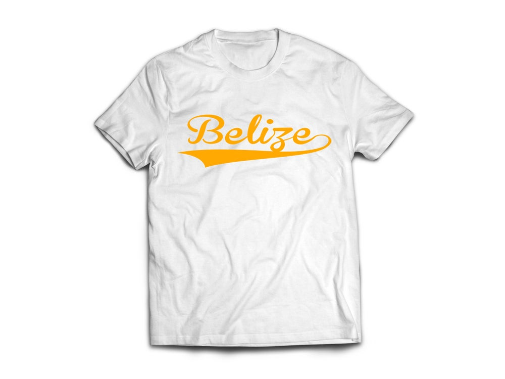 Image of Belize - T-Shirt - White/Yellow Gold