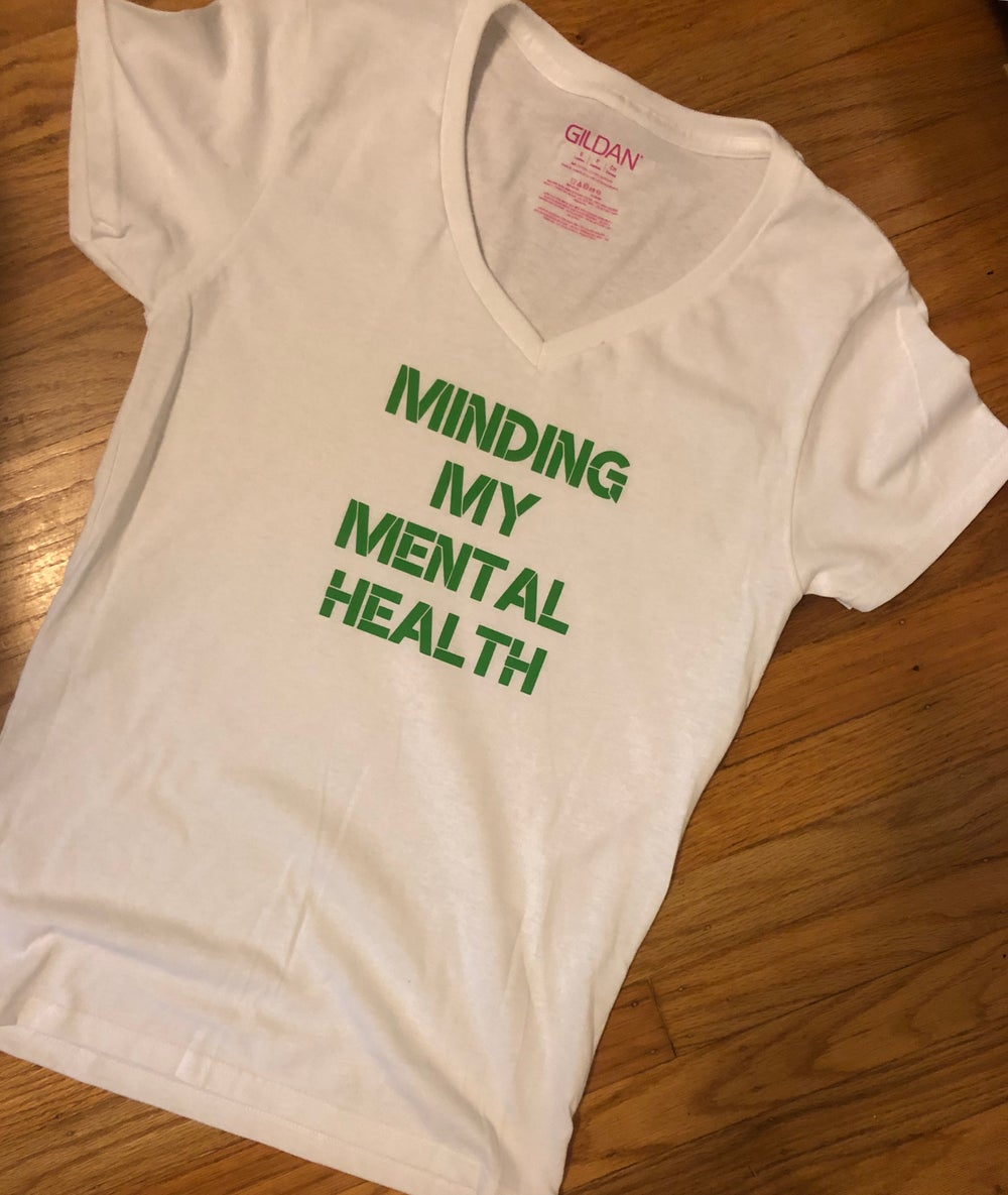 Image of Minding my mental health white vneck with green