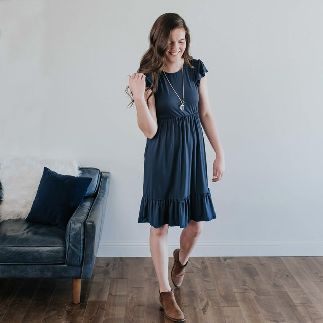 Image of Navy Ruffle Dress | S-XL
