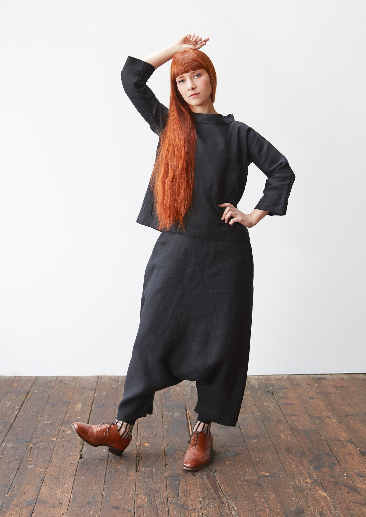 Image of Ruched Waist Sarouel Trousers
