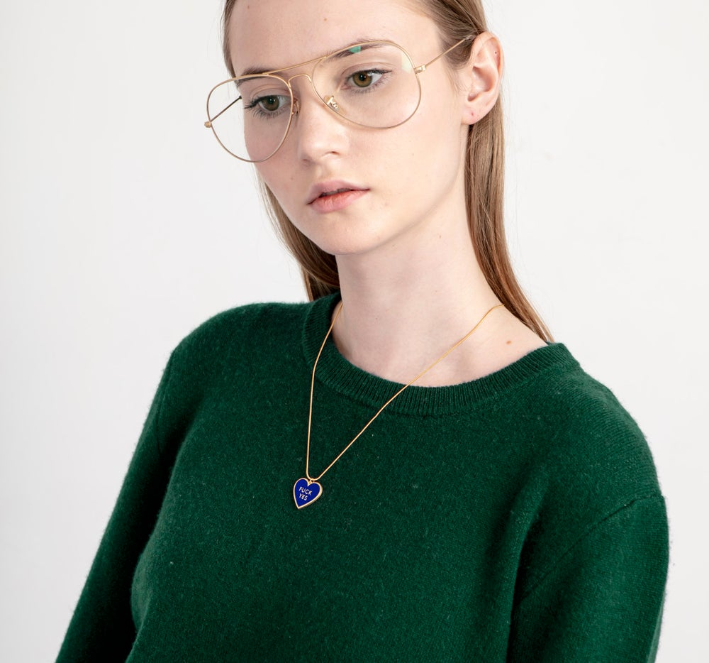 Fuck Yes Necklace - Navy • reversible