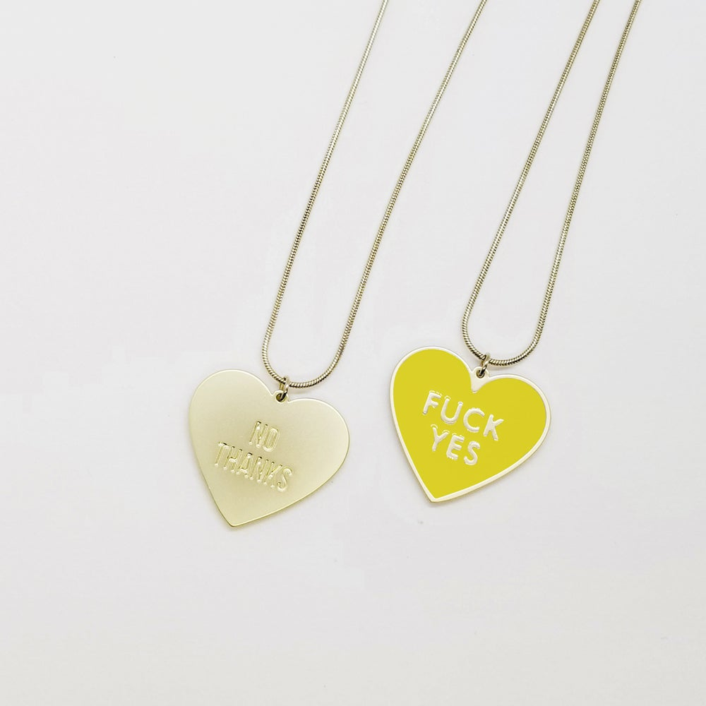 Fuck Yes Necklace - Yellow • reversible • Stain Stainless steel
