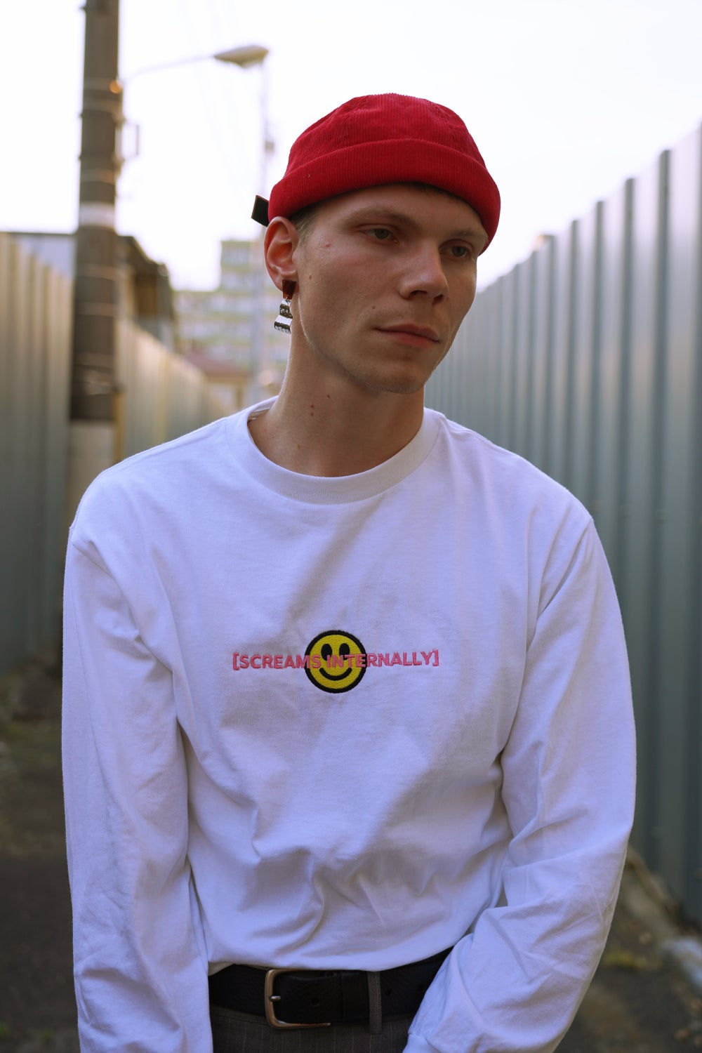 Image of [SCREAMS INTERNALLY] Long Sleeve Tee (White)