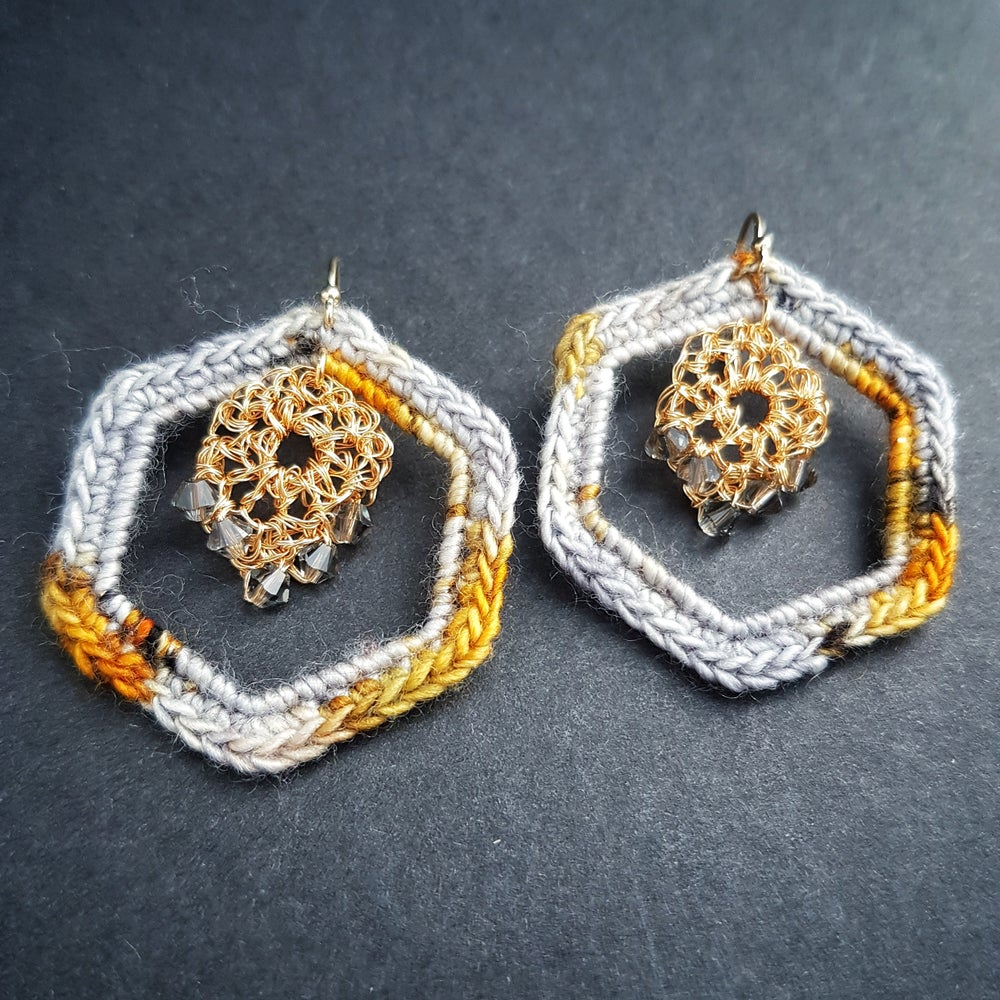 Image of HEXAHOOP EARRINGS - Paved with Gold