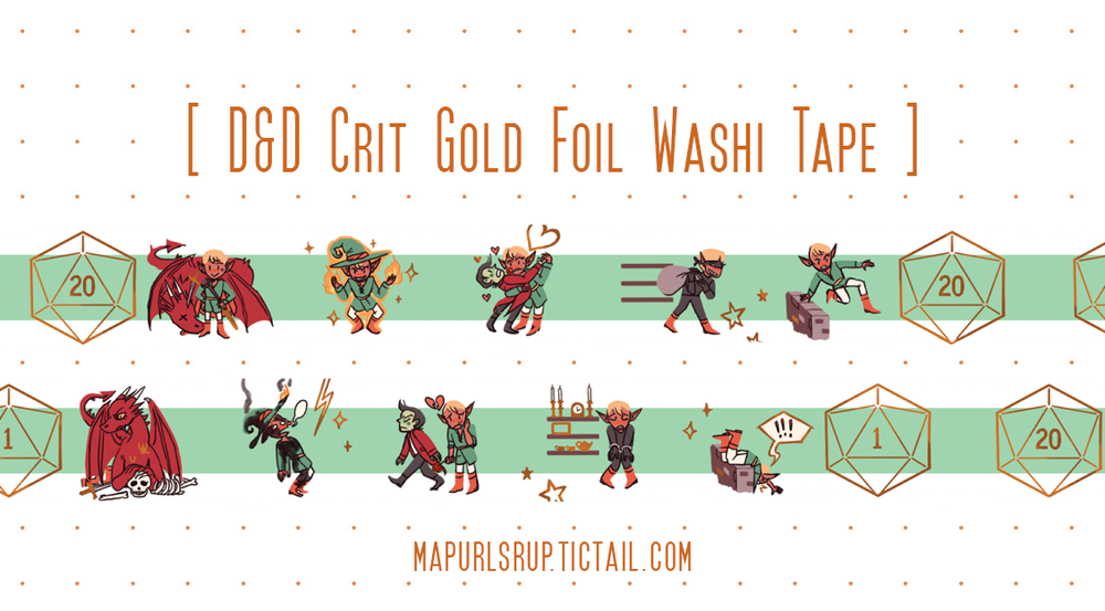 Image of Critical Hit/Critical Miss! Gold Foil Washi