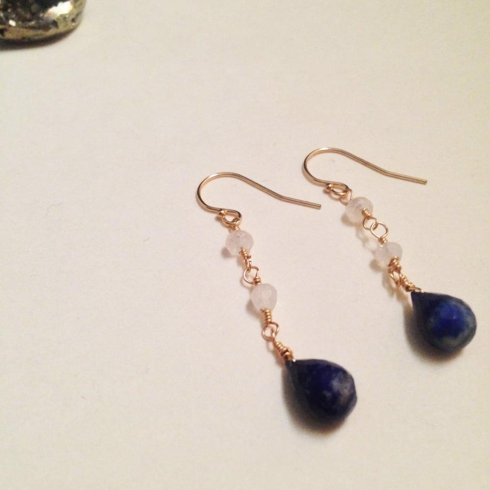 Image of The Star Lapis Lazuli Rainbow Moonstone 14k Gold Filled Natural Gemstone Earrings   Avant Garde