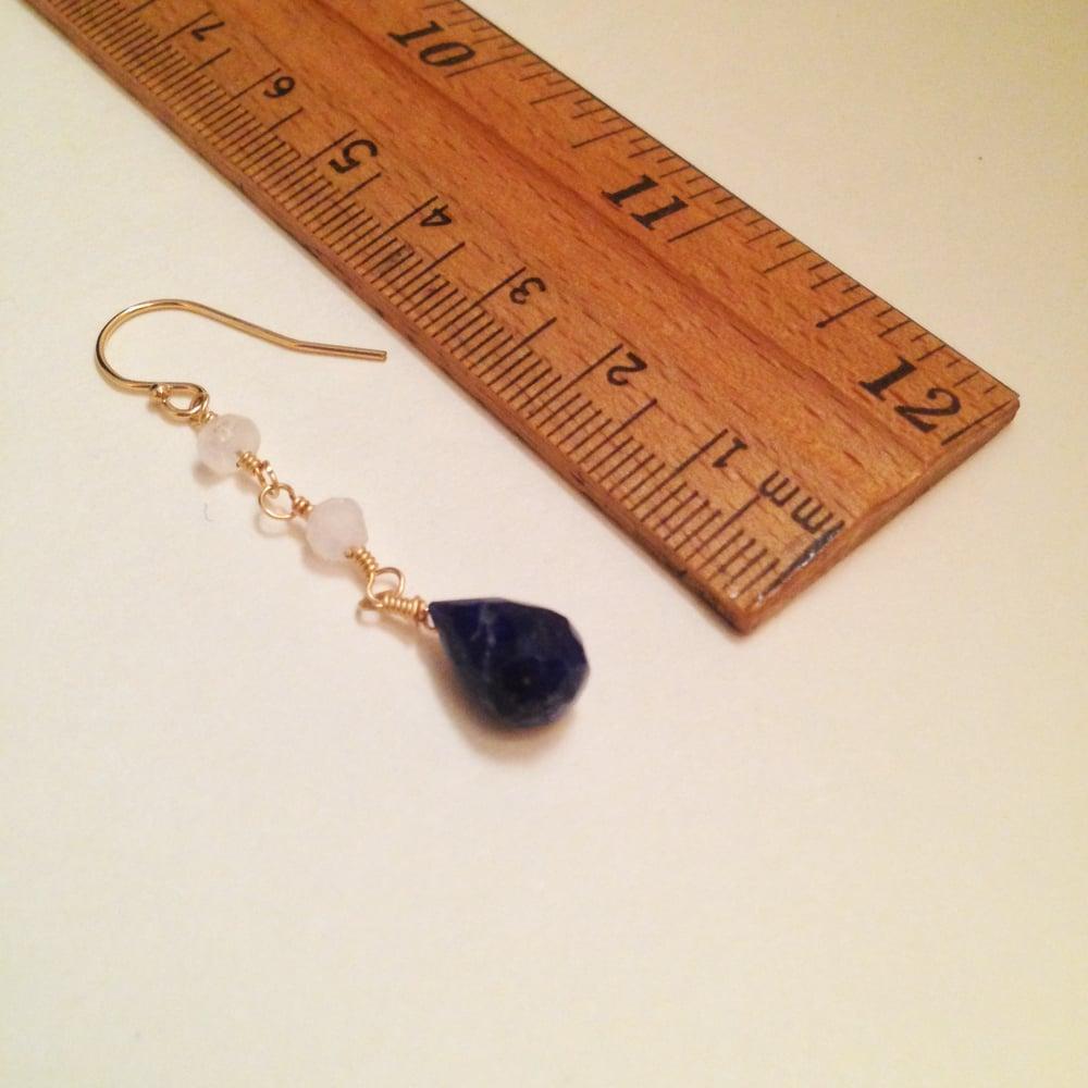 Image of The Star Lapis Lazuli Rainbow Moonstone 14k Gold Filled Natural Gemstone Earrings | Avant Garde