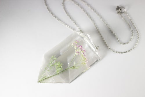 Image of Pink Yarrow (Achillea millefolium) - Chunky Statement Piece Prism Necklace