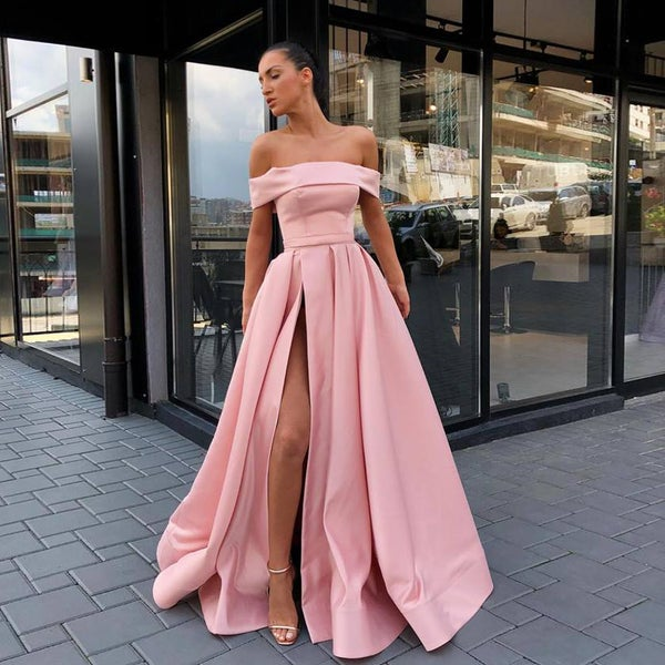 Image of Pink Off-the-Shoulder Pockets Satin Long Prom Dress, A-line Formal Evening Gown With High Slit