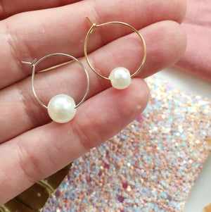 Image of Single Pearl Hoop Earrings - Golden or Silver Finish