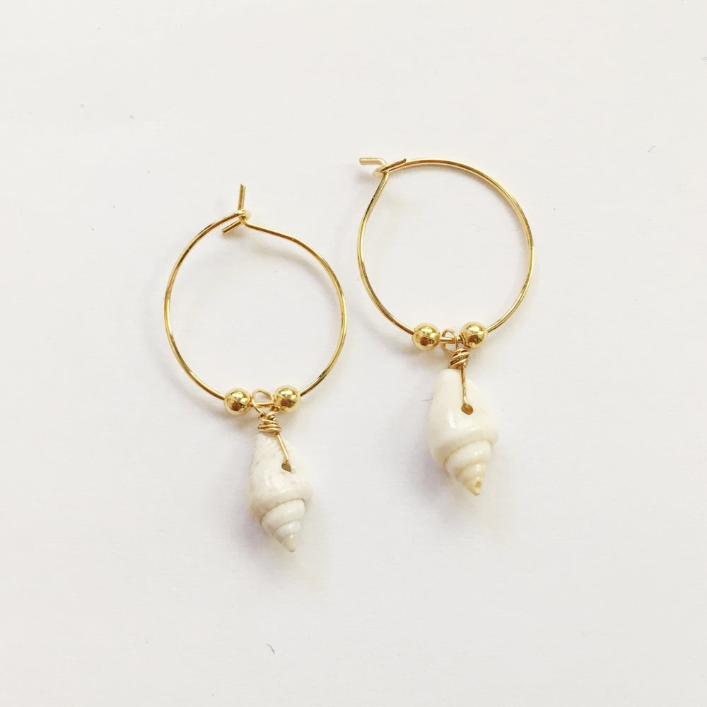 Image of Natural Shell Hoop Earrings