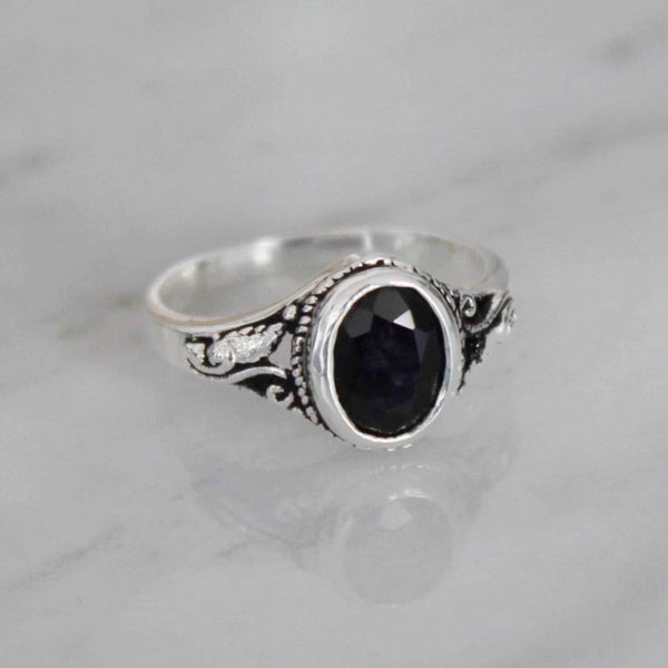 Image of Natural Dark Blue Sapphire vintage style ring