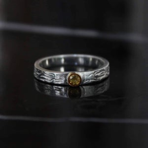 Image of Natural Yellow Sapphire 18k gold silver ring