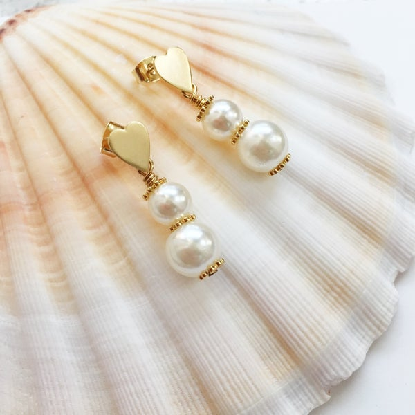 Image of Pearl Heart Earrings - Vintage Faux Pearls, Sterling Silver Ear Post